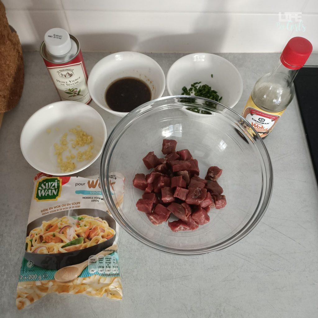 Recette udon au boeuf - ingrédients